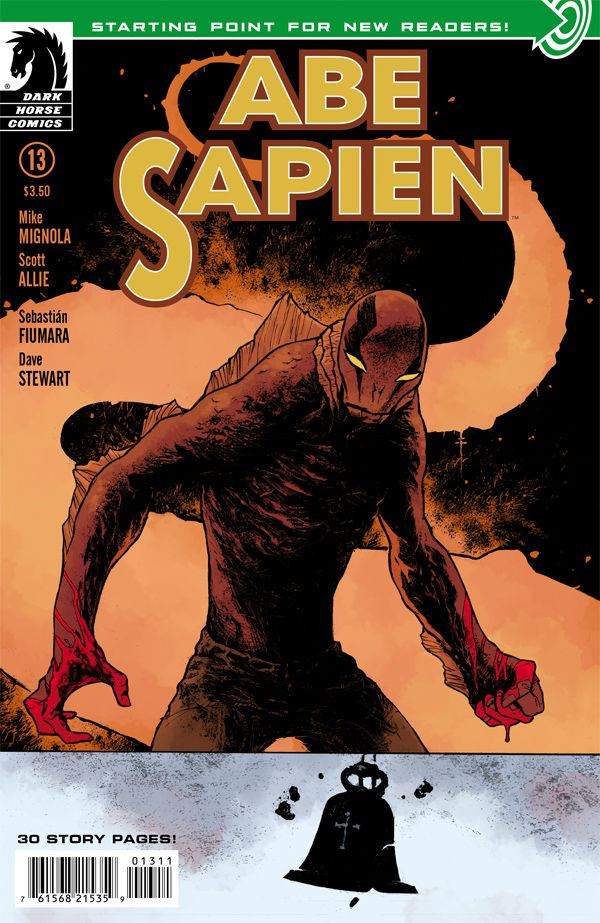 Abe Sapien #13, Dark Horse Abe Sapien's ongoing solo series has been pretty interesting so far. It's always bizarre and keeps getting darker in tone with every issue. Abe's recently went through some transformations recently becoming more monster in appearance than man. This issue encourages new readers to jump on board as a good starting point. We see Abe still traveling across an apocalyptic wasteland with an odd woman whom he found chained up inside a weirdly ravaged  house. They run into some strangers who's son has half transformed into frog man monster, seeking the powers of a healer who supposedly lives close by. Abe's still trying to prove to himself and world that he himself is in no way connected to the most recent events of monster outbreaks that have occurred in major cities. This series continues to intrigue me as does almost everything in the Hellboy universe. I'm still trying to catch up on all the thick rich back stories that all seem to connect in some way.